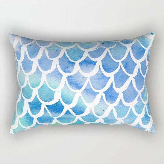 Mermaid Lumbar Pillow - Toddler Pillow - Scallop Pillow - Watercolor Bed Pillow - Rectangle Throw Pillow - Blue Pillow - Travel Pillow