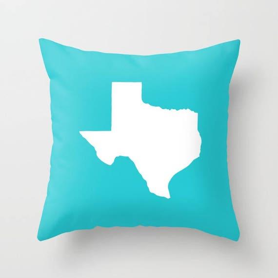 Texas Throw Pillow - Aquamarine Pillow - Texas Cushion - Aqua Pillow - Texas Pillow - Texas State - Cyan Pillow  Texas Gift 16 18 20 24 inch