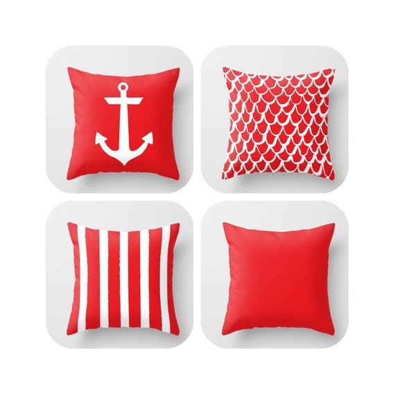 OUTDOOR Throw Pillow . Red Mermaid Pillow . Coastal Patio Cushion . Anchor Pillow . Stripe Pillow . 16 18 20 inch . Ruby Red Rectangle