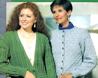 Cardigan Leaf and Bobble Scoop Neck Cables V-Neck Diamonds Rolled Collar Crew Neck Lattice Lace Knit Craft Pattern Leaflet Leisure Arts 985