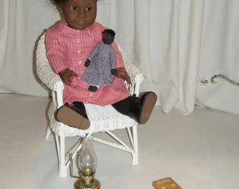Vintage 1993 Pleasant Company Addy Doll Ida Bean Oil Lamp Game Original Clothes Mancala Game Sansa Thumb Piano Wicker Chair American Girl