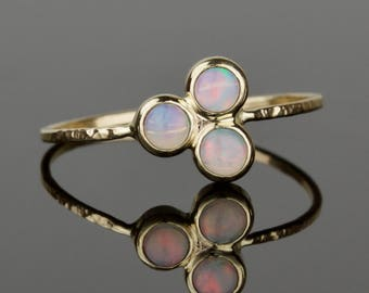 3 Opal Ring - 3mm Tiny Delicate Natural AAA Opals 14k Ring - Solid 14k Gold - Genuine Fiery Australian White Opal - October Birthstone