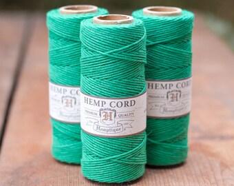 Green Hemp Cord, 1mm,  205 feet,  Colored Hemp Cord, Hemp  Twine -T8