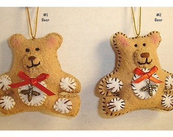 Bear Ornament/Made of Felt/ Handmade*/MADE to Order**