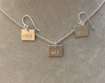 "small ""ctrl"" ""alt"" ""del"" pendant and earrings -- Hand Stamped Sterling Silver  geek chic nerd nerdy cute computer silliness"