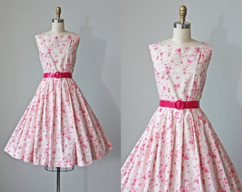 1950s Dress - Vintage 50s Dress - Pink on Pink Floral Print Cotton Full Skirt Sundress S M - Nevertheless Dress
