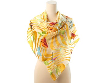 Large Silk Scarf 90s Butterfly Printed Sheer Bohemian 32 X 32 in Yellow White Vintage Formal Shawl Christmas Gift Idea Girlfriend Gift