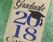 Graduation Party, Graduation Flag, Class of 2018, Burlap Garden Flag, New Graduate, Graduation Yard Sign, Personalized, Party Decorations