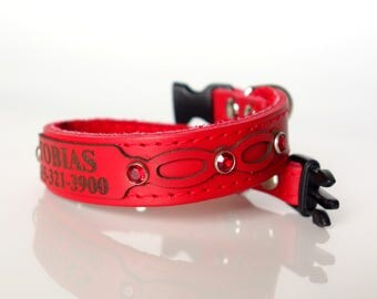 Cute Leather Cat Collar Personalized with Engraved ID Tag and Safety Buckle-Red Bling Crystal Rivets All Genuine Leather 5/8 Inch Width