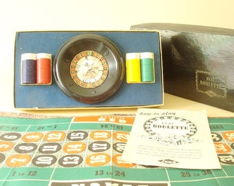 Roulette game set, vintage 1950s Lowe boxed set, complete mid-century Vegas Night gambling gaming, bar game, gift for guy, man cave she shed