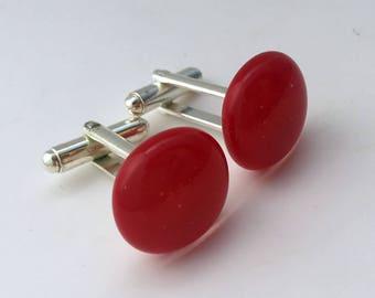 Red Fused Glass Cufflinks