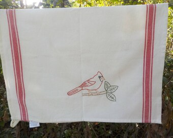 Hand embroidered  Cardinal Tea Towel