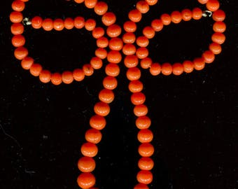 Antique Natural Mediterranean Salmon Round Coral  Beads, Good Color C293