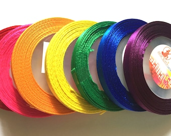7 rolls (105 yards) Satin Ribbon 7 mm Mix rainbow colors