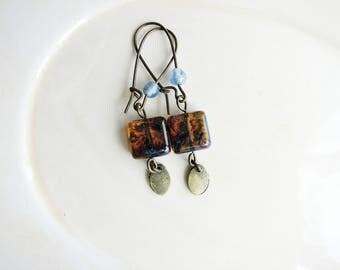Long Czech Glass Earrings, Brown Earrings, Earthy Bead Earrings, Fringe Earrings, Blue and Brown Earrings