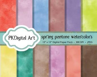 "Watercolor Digital Paper - ""Spring Pantone Watercolor""  Scrapbook Paper Background Crafting Supplies"