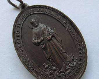 Saint Barnabas Pieta Jesus And Mary Antique Religious Medal  Pendant   SS283