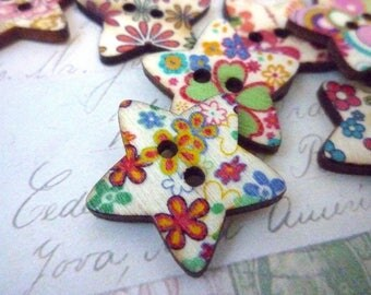Wooden Buttons - Star Flower Buttons - 25mm - Two holes - Pack of 10