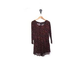 30% OFF Vintage 90s Black Floral Grunge Long Sleeved Romper women s m vestiesteam preppy boho shorts indie hipster jumper dress