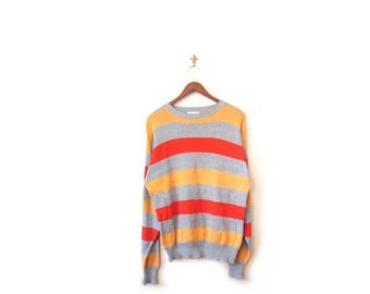 30% OFF Vintage 80s Oversized Unisex College Campus Striped Gray Orange and Yellow Knit Sweater s m l