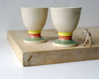 Set of two handmade pottery wine goblets - glazed in simply clay