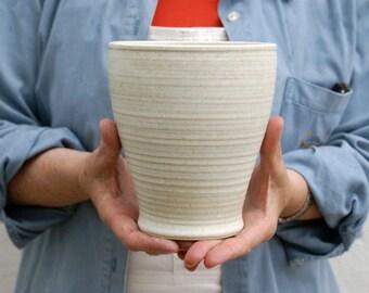 Tulip shaped ceramic stoneware vase - glazed in vanilla cream