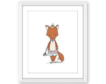 Girl Nursery Art -- Princess Vixen -- Fox Princess Art -- Woodland Art -- Girls Room Art -- Children Art -- Kids Wall Art