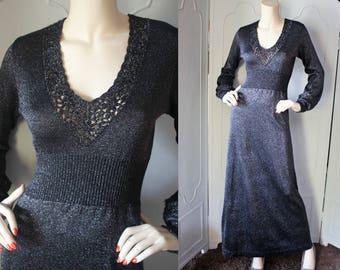 Vintage 1970's Metallic Gray Lace Accent Maxi Dress. Small.