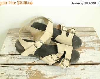 SUMMER SALE Beige Sandals Minimal Leather Flat Sandals, Leather Strappy Sandals, Birkenstock Style, Flats 8.5, Suede Buckle Sandals, Ankle S