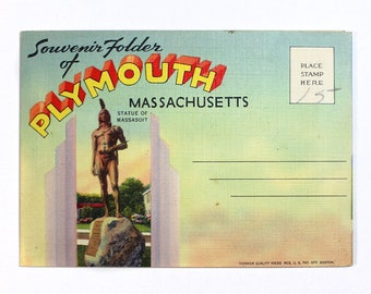 Vintage Plymouth, Massachusetts Souvenir Folder