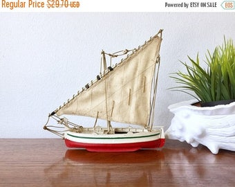 SALE EVENT Vintage Wood Sailboat - Red Hull Boat with Linen Sail - Nautical Decor Wooden Sailboat