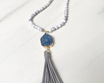 Beaded Tassel Necklace with White Howlite Beads, Blue Druzy Gold Dipped Charm & Gray Suede Tassel