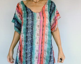 Cotton Beach Wear Cover-up, Multicolored Striped %100 Fine Cotton Tunic Dress, Handmade Gift Guide, Summer Women Accessory