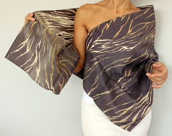 Smokey Gray Blue Gold Satin Taffeta Evening Shawl Scarf Shoulder Stole Special Occasion Evening Wrap, Double Sided Dress Cover Retro Fashion