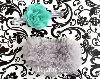 SALE Baby Girl Ruffle Bum Bloomer & Headband Set - Newborn Photo Set - Infant Bloomers - Diaper Cover - Baby Gift - Ready to ship