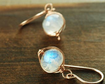 Moonstone Rose Gold Wrapped Drop Earrings