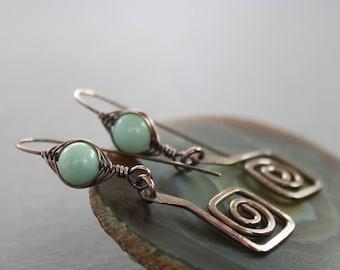 Artisan Greek spirals copper earrings with herringbone wrapped amazonite stones - Threader earrings - Statement earrings - ER016