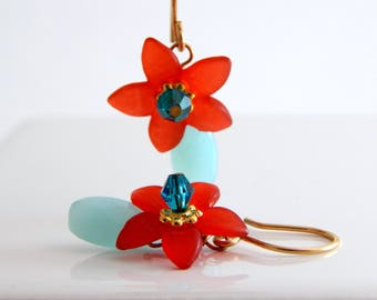 Red and Blue Lucite Flower Earrings ~ Hawaiian Style Earrings ~ AdoniaJewelry