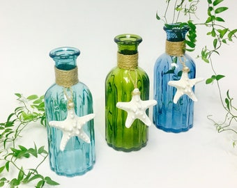Beach Decor - Glass Bottle with Natural Starfish  - Choose Aqua, Green or Blue - coastal star fish seashells sea shells nautical bathroom