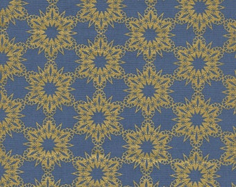 Cotton + Steel - Noel Collection - Gold Flakes in Blue Metallic