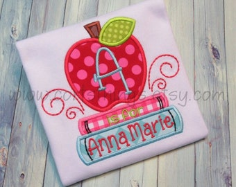 Personalized Back to School Apple and Books Shirt