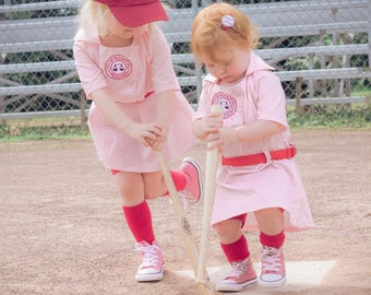 A League of Their Own Rockford Peaches inspired Dottie Baseball dress with belt and front patch - 18 month,   wedding,  birthday, halloween