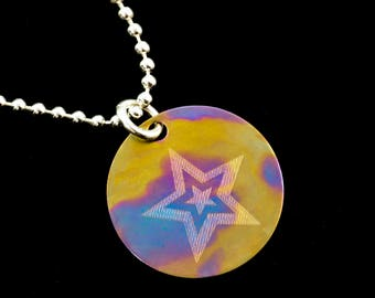 Tie Dye Star Necklace in Titanium and Sterling Silver