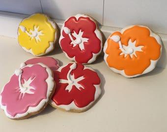 Tropical Hibiscus Hawiian Cookies - 1 Dozen