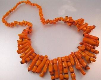 "SHIPS 6/26 w/FREE Jewelry Vintage Graduated Orange Branch Coral Necklace 25""  Jewelry Jewellery"