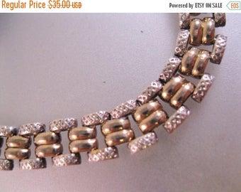 """XMAS in JULY SALE Italian Two Tone Sterling Silver Link Bracelet 7 1/8"""" Long 5/16"""" Wide Vintage Jewelry Jewellery"""