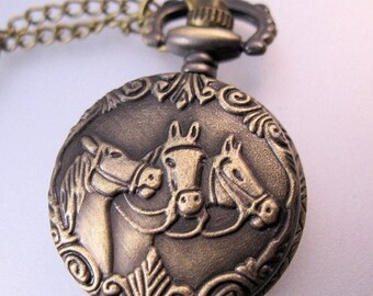 XMAS in JULY SALE Vintage Style Horse Head Ladies Petite Pocket Watch Pendant Necklace with Chain