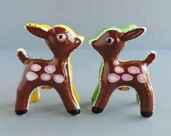 Vintage Napco Deer Salt and Pepper Shaker Set, Mid-Century Figural Couple, Made in Japan, S&P Collectible, Cake Topper