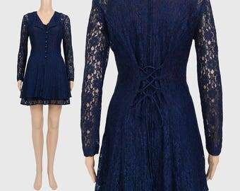 Vintage Navy Lace Mini Dress | 90s Sheer Lace Dress | Boho Floral Dress | 1990s Grunge Dress | Corset Back Long Sleeve Blue Mini Dress | S M