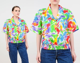 80s Artsy Top | Brush Stroke Colorful Blouse | Painterly Shirt | Blouson Short Sleeve Top | Button Up Slouchy Blouse | Small Medium S M